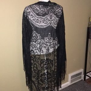 Accessories - Black Lace Wrap with fringe